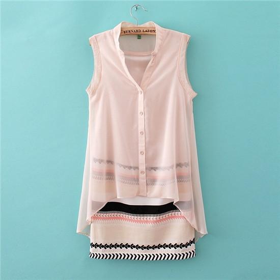 Women V-neck Fake Two Pieces Outfits Sleeveless Dress Fashion Casual Chiffon Dress Street Wear Brand Summer Spring Dress 0020(China (Mainland))