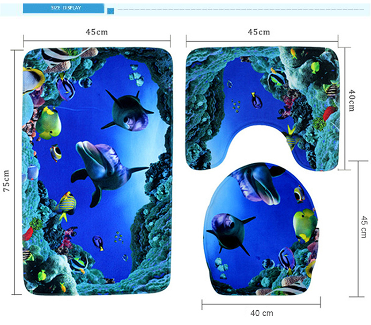 cbca44018c 3 pieces set bath Mat Ocean Underwater World Carpet doormat Dolphin fish  printed Toilet Mat for bathroom 3 pcs Bath rugs - us312