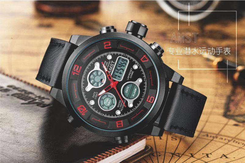 Top Brand Dive LED Часы Мужчины Спорт Военные Часы Натуральная Кожа Кварцевые Часы Мужские Наручные Часы Relogio мужской