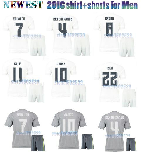 Top quality Camiseta Ronaldo ropa futbol jersey set RM 2016,white/Gris soccer shirt+Pants equipe de men Football kits 15 16(China (Mainland))