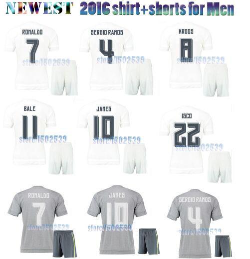 Top quality Camiseta Ronaldo ropa futbol jersey set RM 2016,white/Gris soccer shirt+Pants equipe de men Football kits 15 16(China (Mainland))