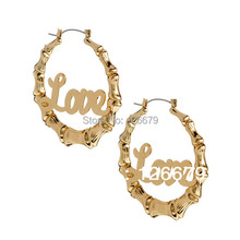 New Fashion Basketball Wives Earrings Product Gold Love Bamboo Hoop Earrings for Women(China (Mainland))