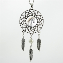 Buy 2016 Trendy Style White Horse Necklace Dream Pendant Running Horse Jewelry Dream Catcher Feather Necklace DC-00529 for $1.00 in AliExpress store