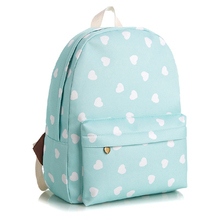 New Heart-shaped Pattern Girl Canvas Backpack Hight Quality  Large Capacity Teenage School Bag 2 Colors(China (Mainland))