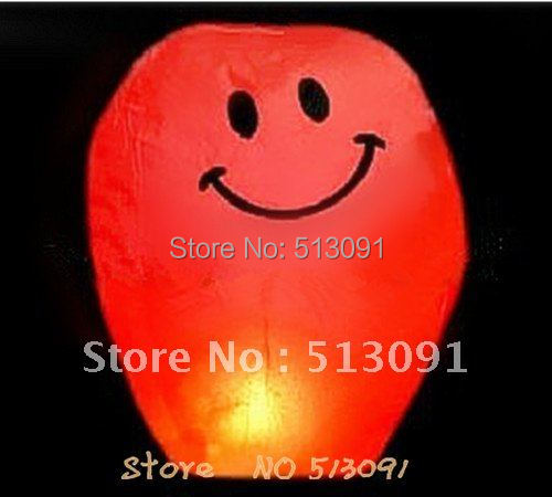 Free shipping 15ps/lot Red(Smiling face )Chinese Fire Sky Lanterns Wishing Balloon Birthday Christmas Wedding Party Lamp(China (Mainland))