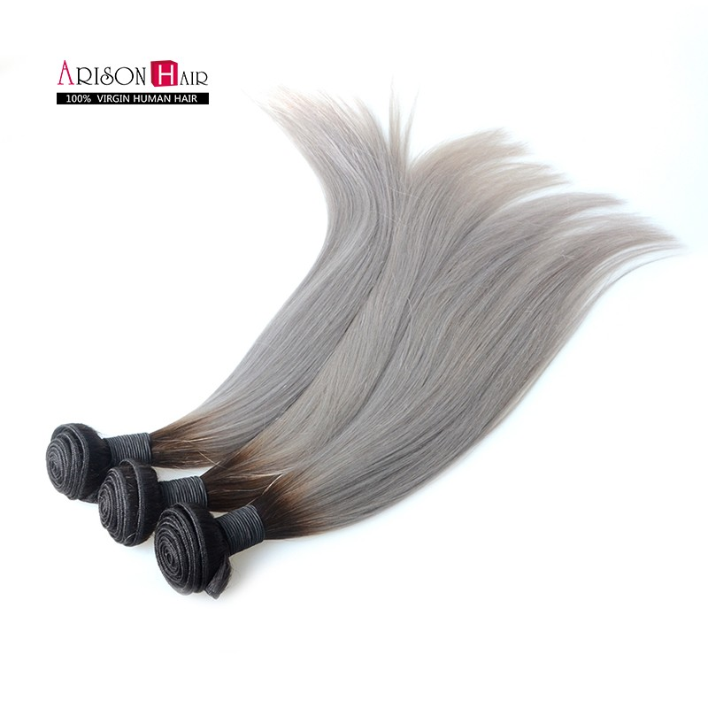 Hot 12-24 8A Tape In Real Virgin Hair Virgin Sliver 1b/grey Long peruvian silky straight Human Ombre sliver Hair Extension<br><br>Aliexpress