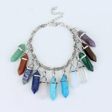 Top Grade Europe style Colorful natural stone bracelet pendants fashion femme Charm Bracelets best women gift(China (Mainland))