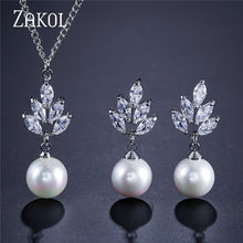 ZAKOL New AAA CZ Zirconia & Simulated Pearl Drop Earrings Pendant Necklace Set Fashion Ceystal Elegant Women Wedding Accessories(China)