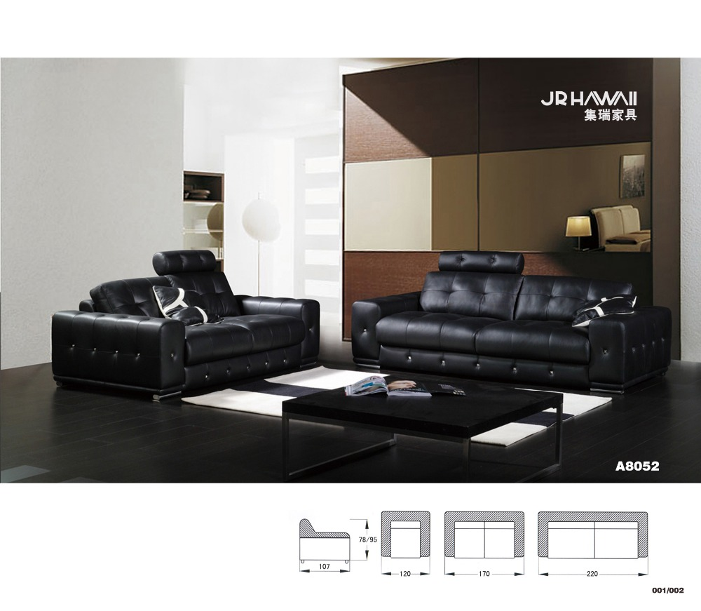 Home furniture Sectional sofa in leather full living room sofa black color with diamond(China (Mainland))