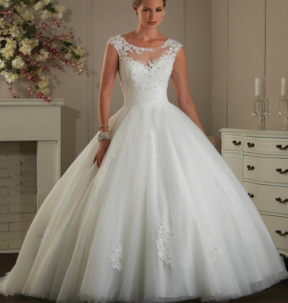 Buy Alibaba Lace Backless Wedding Ball Gowns Appliques Scoop Robe De ...