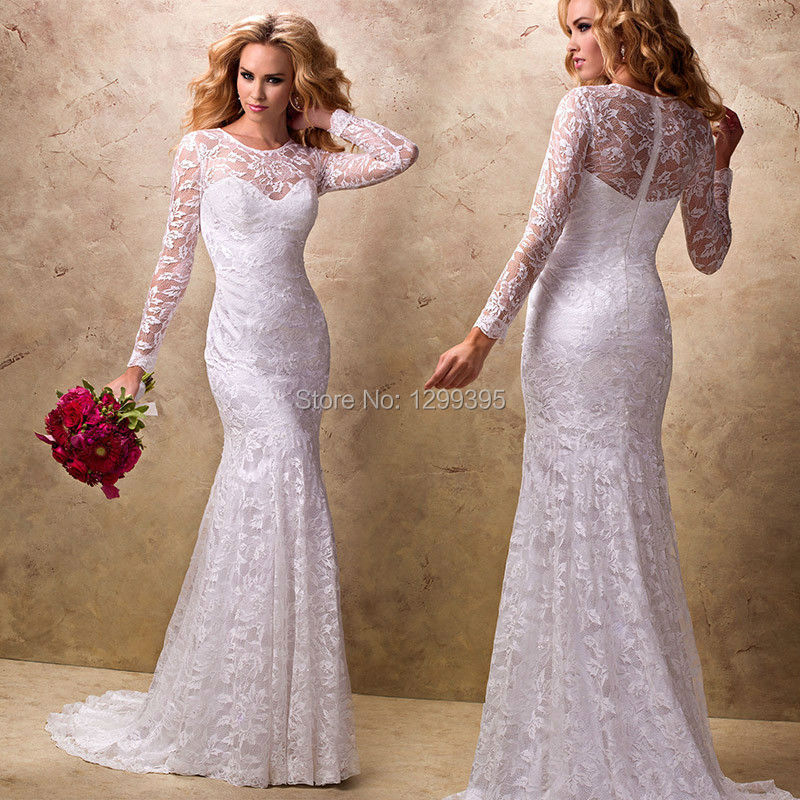 Long sleeve mermaid lace wedding dress cheap wedding dress for Cheap wedding dress from china