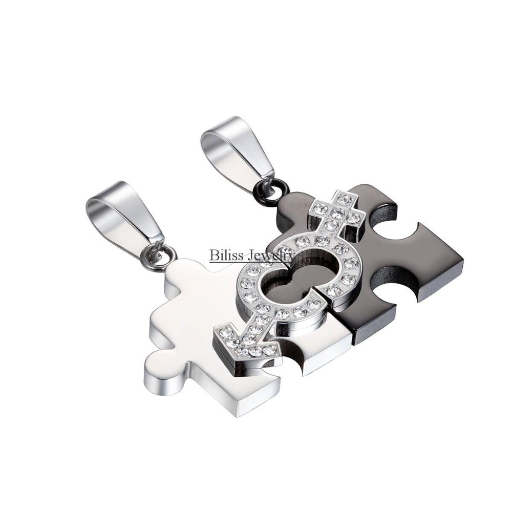 One Pair Titanium Stainless Steel Pendant Couple Necklace Black and White Puzzle Pendant Gift For Lovers(China (Mainland))