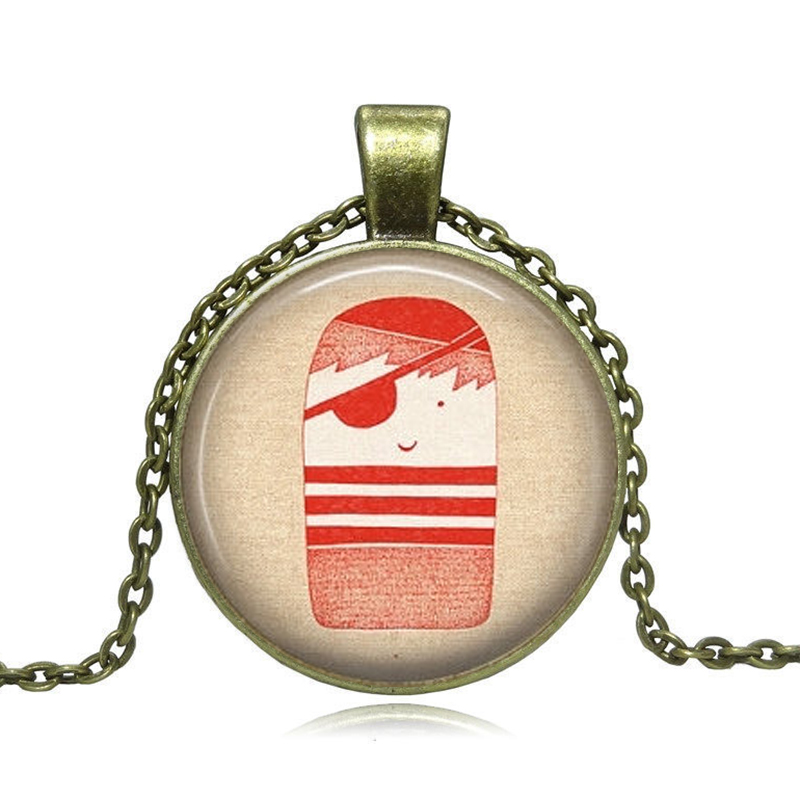 1pcs/lot Sea Necklace Women Pirate Jewelry Art Photo Print Pink Pendant Gift for Her(China (Mainland))