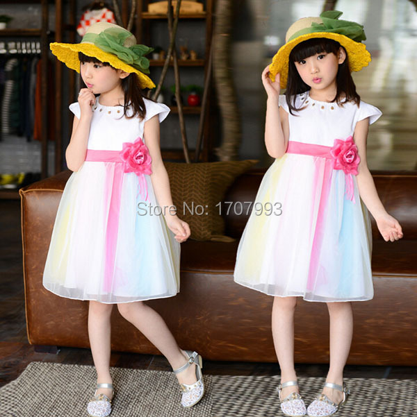 New 2015 Hot Sell Children's Clothes Summer Rainbow White Princess Kids Dresses For 4 5 6 7 8 9 10 years old Girl dress(China (Mainland))