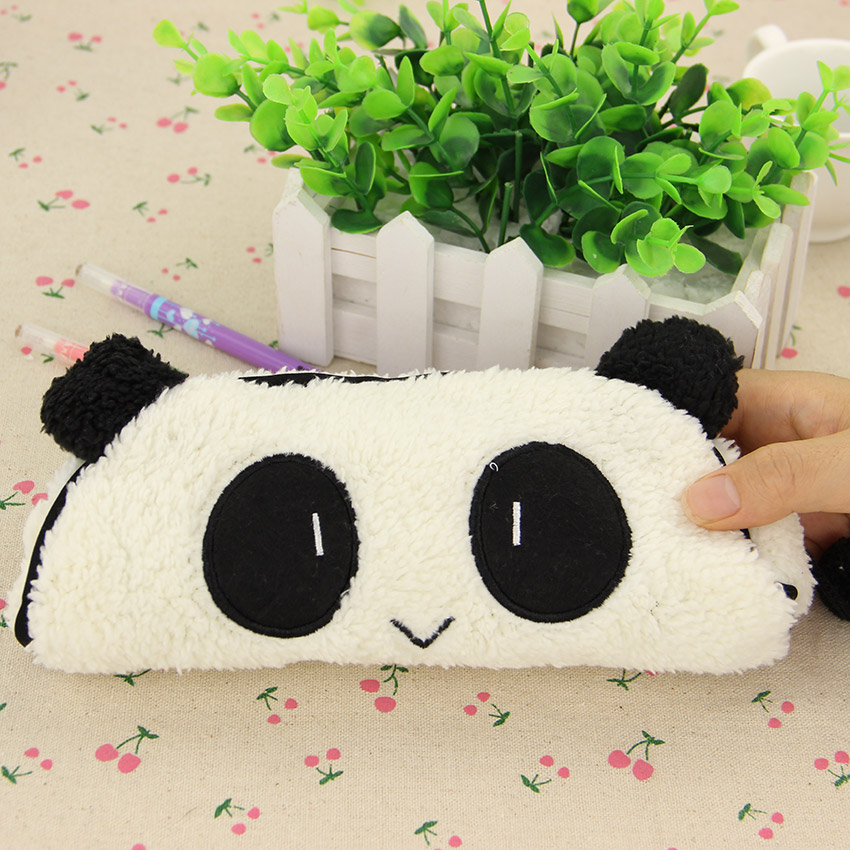 1 Pcs Cute Kawaii 3D Plush Panda Pencil Case Large Capacity School Supplies Noverty Item for Kids(China (Mainland))