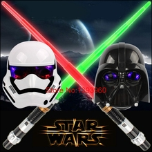 LED Cosplay Star wars Weapons Sword white helmet flaring black gleamy warrior Empire soldiers light Darth Vader Halloween mask(China (Mainland))