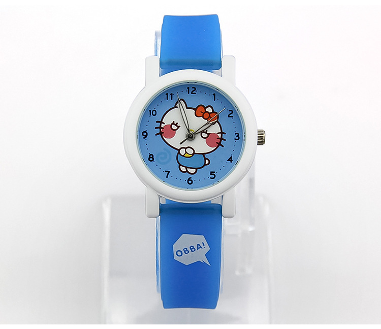 High Quality Brand Childrens Cartoon Hello Kitty Watches Candy Color Eco-friendly Rubber Analog Clock Quartz Relojes 1ATM NW2057(China (Mainland))