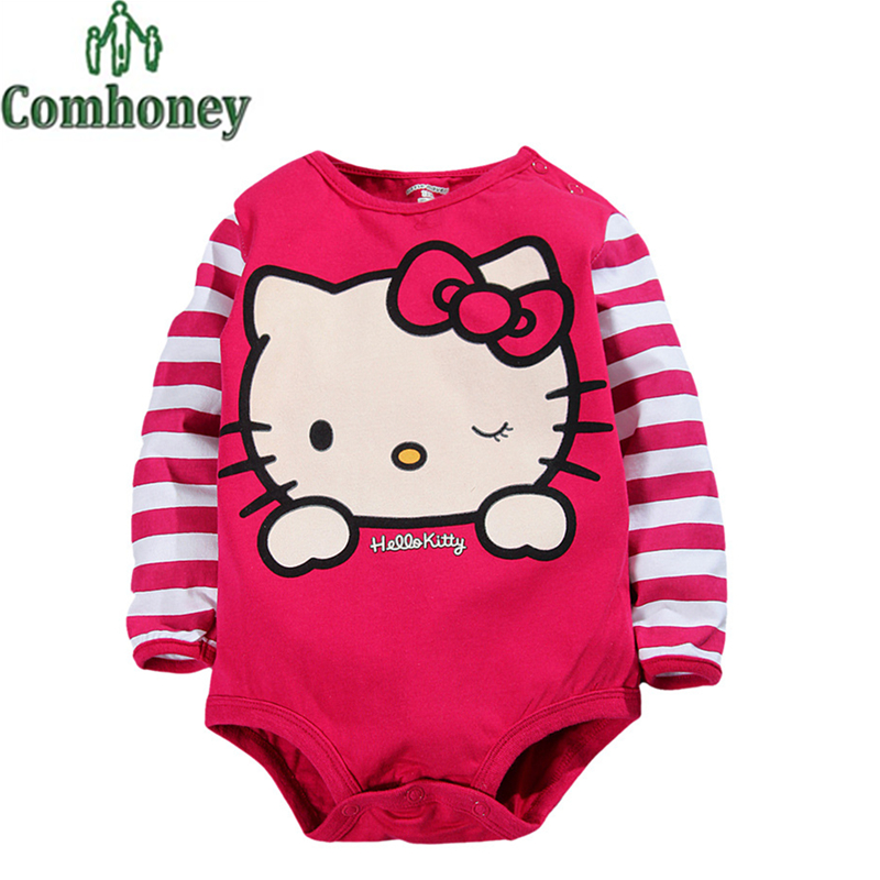 Hello Kitty Baby Rompers Baby Girls Boys Long Sleeve Romper Cotton Baby Infant Newborn Costume Cute Infant Clothing(China (Mainland))