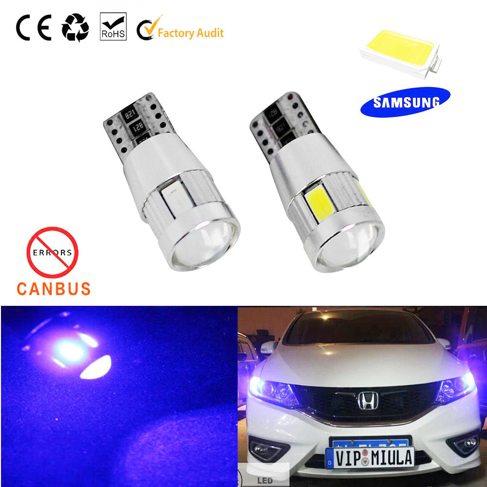2PC/lot Free shipping Car Auto LED T10 194 W5W Canbus 6 smd 5630 cree LED Light Bulb No error car led light parking(China (Mainland))