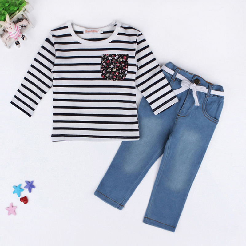 autumn new style girl child clothes set long sleeve striped blouse + Jeans pants 2 piece girls clothing set children's wear