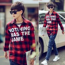 2016 men fall fashion printing letters tartans long sleeved shirt shirt one generation