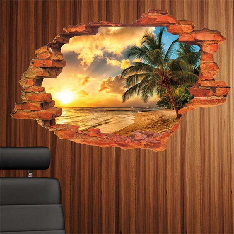 Sunshine Beach Sea Sun Tree Resort 3D Window View Vinyl Wall Sticker Living Room Decal Study Work Room Landscape(China (Mainland))