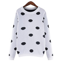 2016 5XL 4XL Plus Size Women Clothing Sweater Autumn Fashion Long Sleeve Casual Vintage Dot Pullovers Womens Sweaters Knit Tops(China (Mainland))