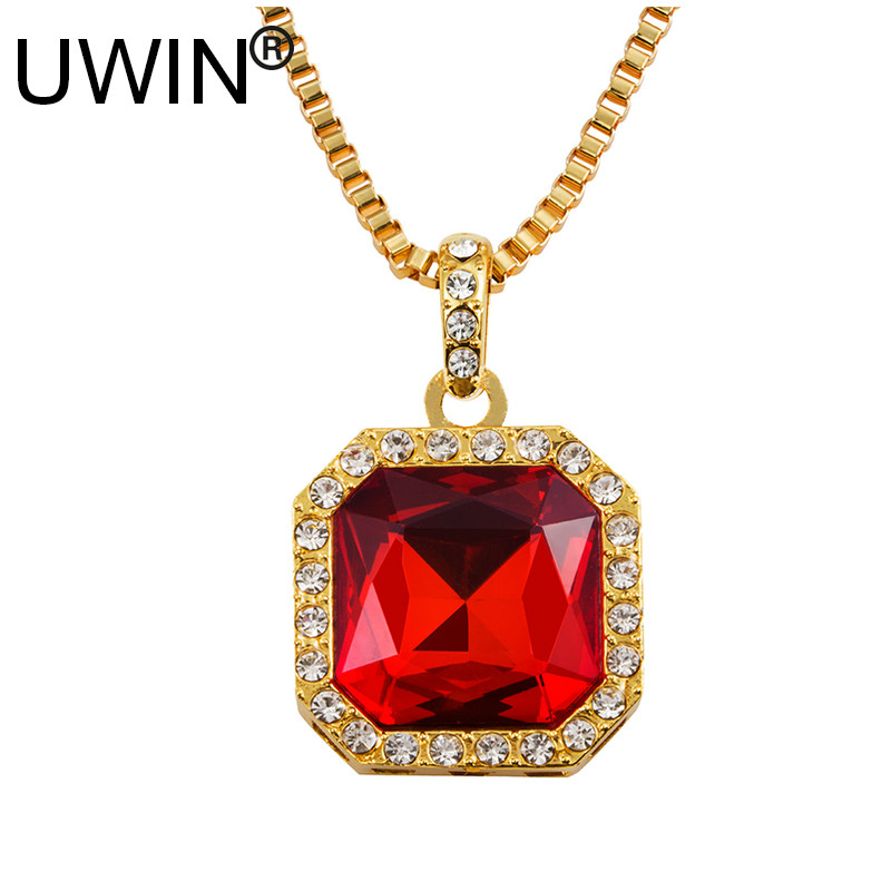 Men 18k Gold Plating Necklace Hip Hop Jewelry Luxury Bling Square Blue Red Ruby Stone Pendant Necklace Chain For Women Gift(China (Mainland))