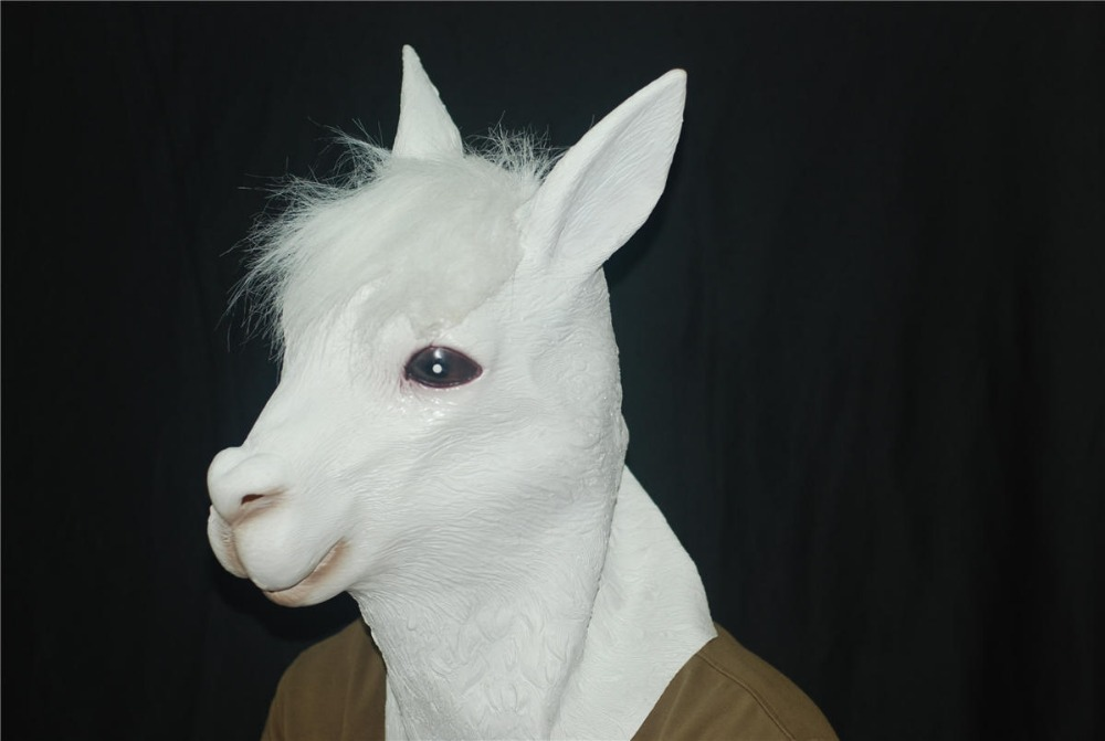 Natural Rubber Alpaca Head Animal Latex Masks Halloween Masquerade Party Cosplay Mask Pure White Color Hot Sale Free Shipping(China (Mainland))