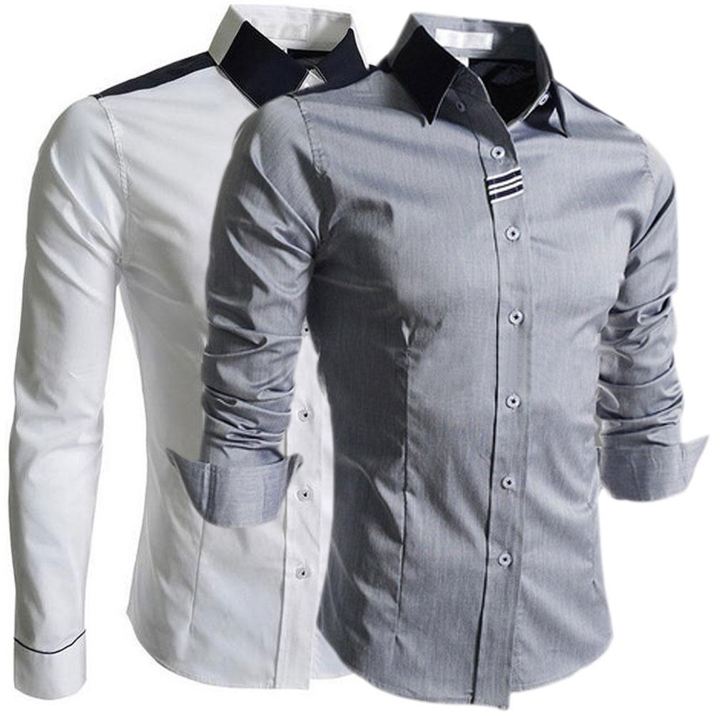 Long-sleeved Shirt Slim Fit Businese Shirt Metrosexual Leisure Outwear Fashion Men's Clothing(China (Mainland))
