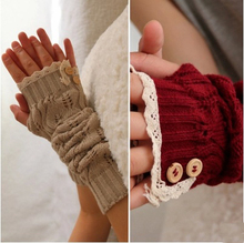 Winter Lace Fingerless Gloves For Women Corchet Leaves Pattern Cutout Style Long Oversleeve Arm Warmers Black Arm Covers 8colors(China (Mainland))