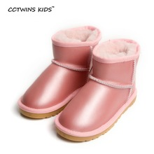 CCTWINS KIDS 100% Sheepskin winter baby girls fashion snow boots for children genuine leather shoes boys black warm boots grayy(China (Mainland))