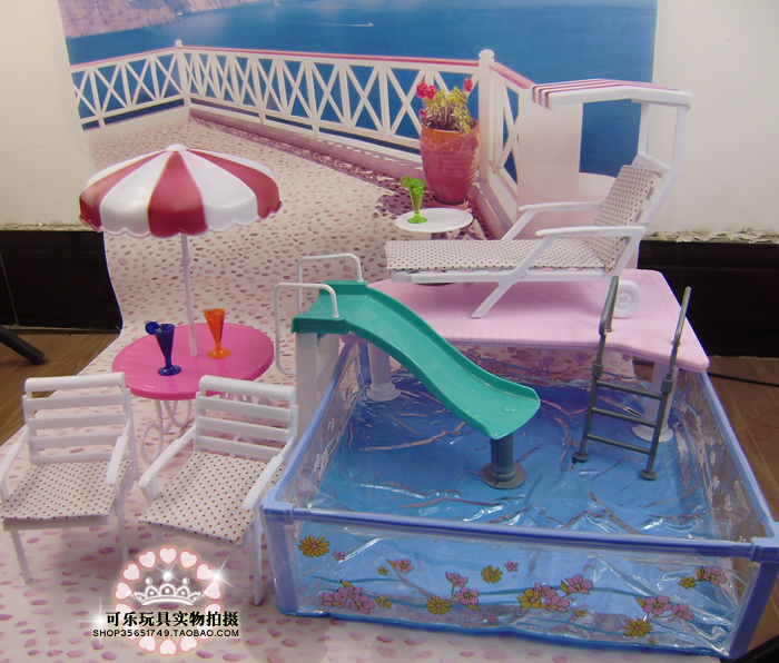 2015 New water Furniture for barbie doll water toy set (large square pool + sun umbrella + Beach chair +slides )(China (Mainland))