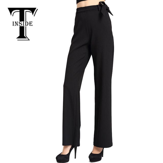 T-Inside 2016, элегантные женские штаны, высокая талия, черные, одноцветные, настраиваются ...