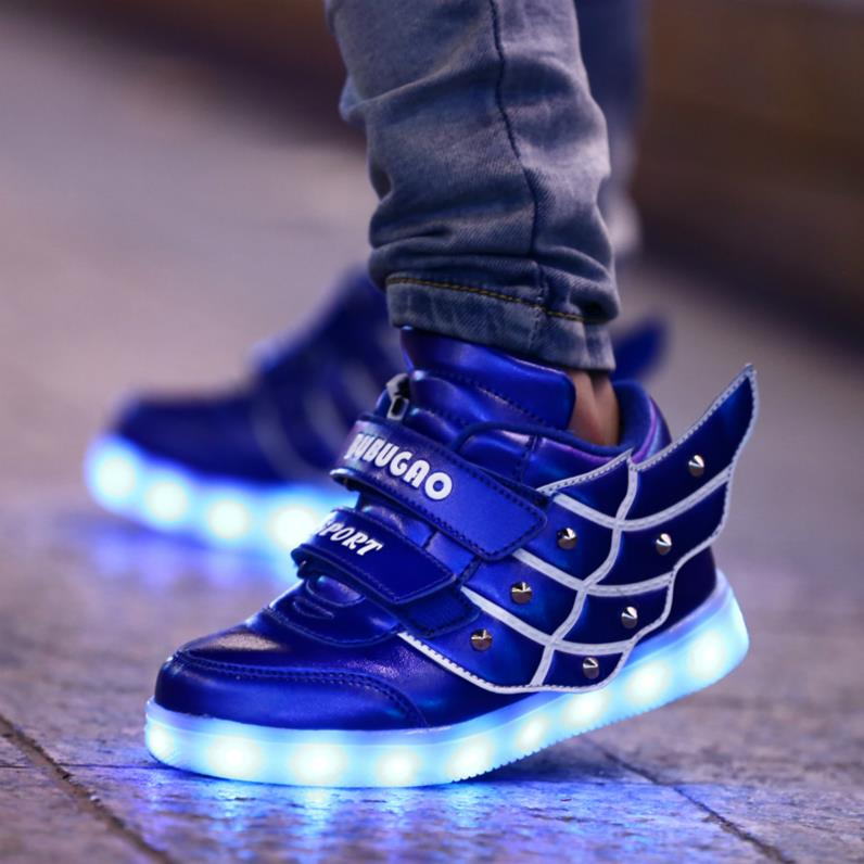 2016Hot brand Kids Sneakers child Angel wings USB Charging Luminous LED lights Shoes for kids Casual Flat Girls Boy sports Shoes<br><br>Aliexpress