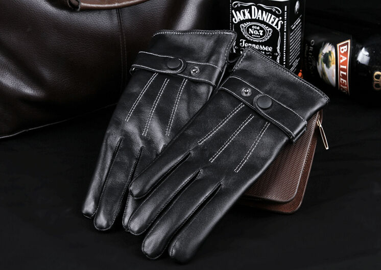 Gours Winter Men's Genuine Leather Gloves Touch Screen Glove Driving Goatskin Mittens Thicken Warm Fashion Brand Guantes