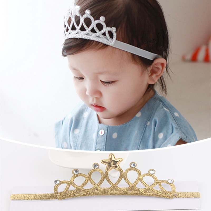 Girls Hair Accessories Prinecess Crown Baby Headband Gold Silver Glittering Headbands for Kids PY071