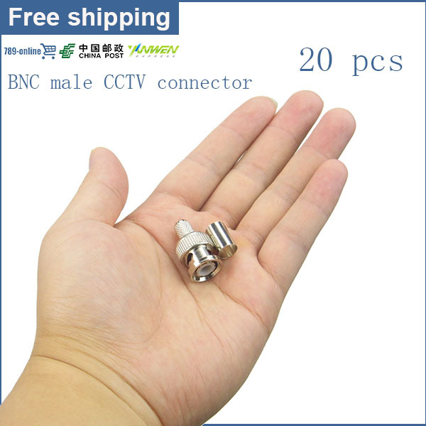 20pcs/lot 3-Pieces type RG59 BNC Crimp Coaxial Connector Cable CCTV video security BNC connector plugs RG59 AC23(China (Mainland))