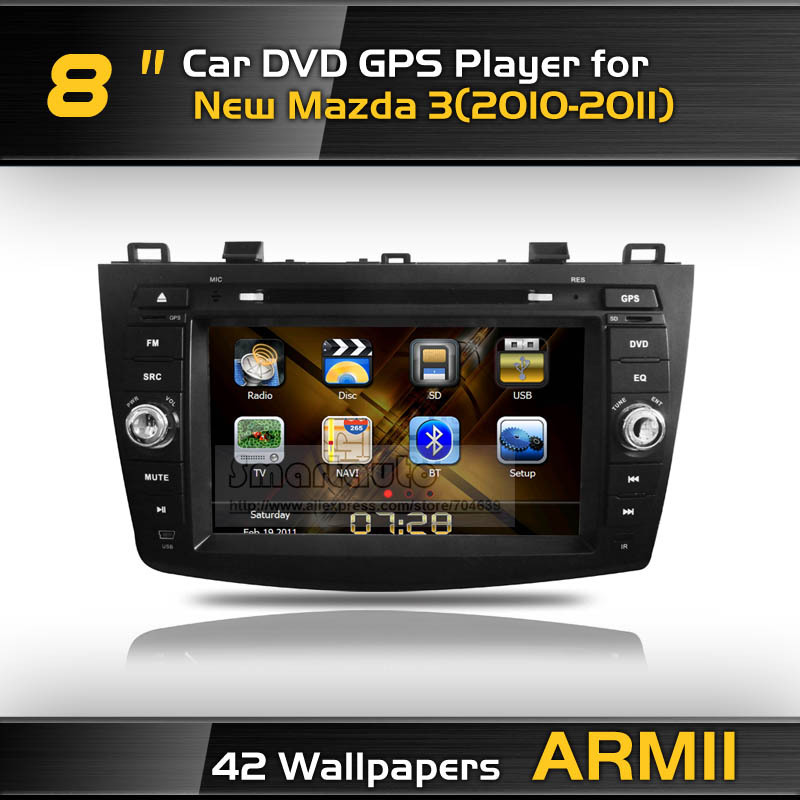 Updated software for New Mazda 3(2010-2011) Free shipping Special Car DVD GPS Canbus,42 background for choice,red illumination(China (Mainland))