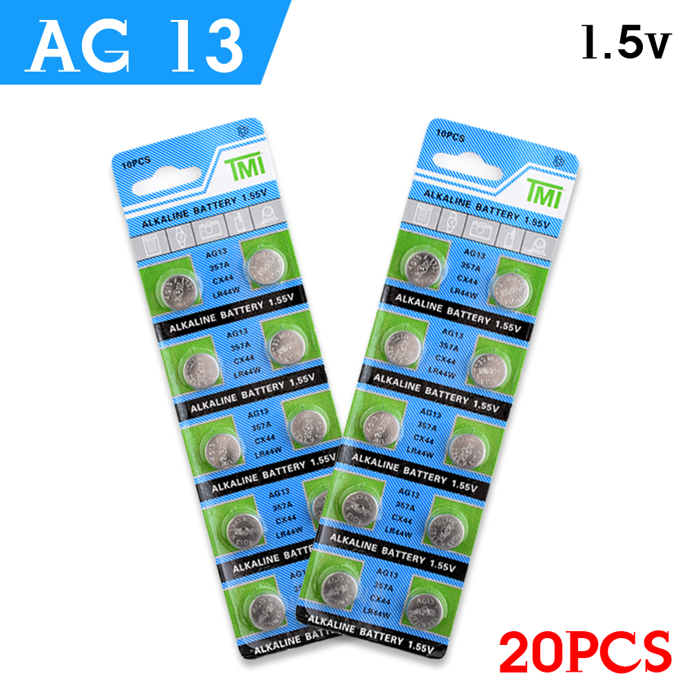 YCDC HOT 20x 1.5V AG13 Battery LR44 L1154 RW82 RW42 SR1154 SP76 A76 357A pila lr44 SR44 AG 13 Lithium Button Cell Coin Battery(China (Mainland))