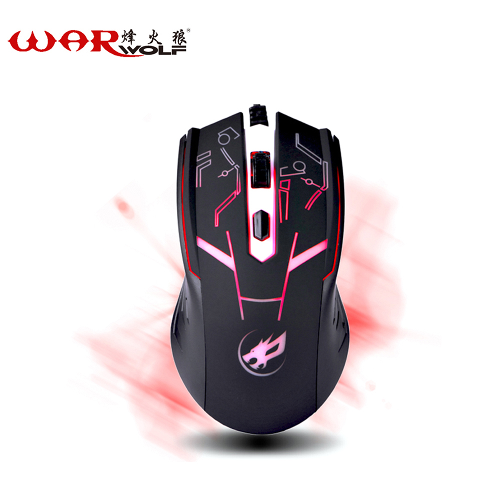 WarWolf Wired Gaming Mouse 4 Buttons Professional PC Laptop Computer Mouse Gamer Mice Backight 1600DPI USB Optical Mouse(China (Mainland))