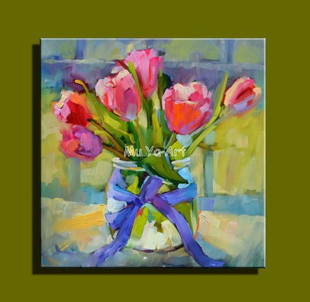 Abstraite moderne mur de toile peint la main peinture couteau fleur peintur - Peinture a l huile moderne ...