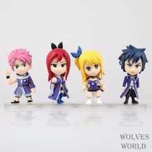 4pcs/lot Natsu Dragneel Lucy Heartphilia Happy Gray Erza Fairy Tail Cartoon Anime Action Figure PVC Model Toy Doll Gift ZB003