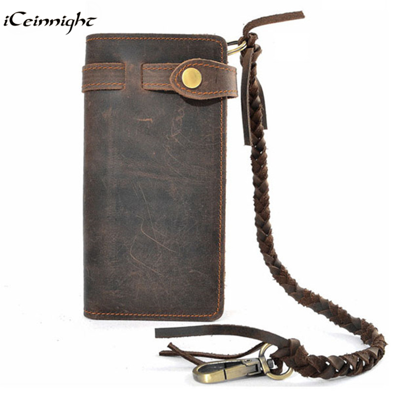 iCeinnight luxury real men 100% genuine leather wallet; purses long vintage mens wallet leather genuine wallet man coin pocket(China (Mainland))
