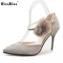 Buy New Arrived Women High Heel Sandals Pointed Toe Shoes Ankle Strap Pompon Sandals Fashion Thin Heel Women Footwears Size 35-39 for $35.02 in AliExpress store