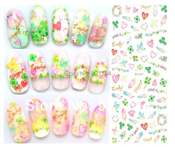 see details plz DLS-27 2014 newest export  water transfer nail art sticker decal decor Pastoral style 3 pcs each lot fresh type