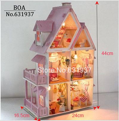 Hot Sunshine Alice Pink DIY Wooden Miniatura Doll House Furniture Handmade 3D Miniature Dollhouse Toys Gits English instructions(China (Mainland))