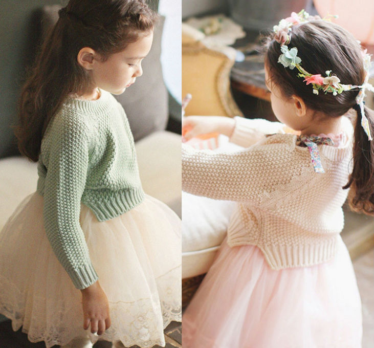 5pc/lot 2014 New Fashion Korean Style Little Girl Knit Sweater / Pullover Kids Sweaters Pullovers Pink Green