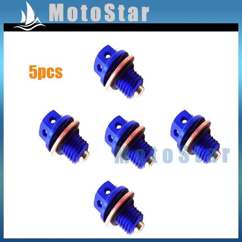 5x Blue Magnetic Oil Drain Bolt Plug For 50cc 70 90 110 125 140 150 160 Engine Lifan YX Zongshen Engine Pit Dirt Bike ATV Quad(China (Mainland))