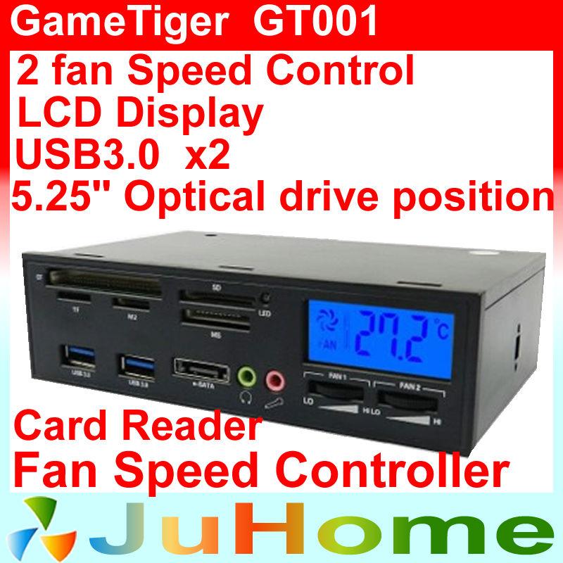 2 CPU fan speed control,Temperature display, card reader, USB3.0 x2, Audio interface, 5.25'' optical drive bit, GameTiger GT001(China (Mainland))